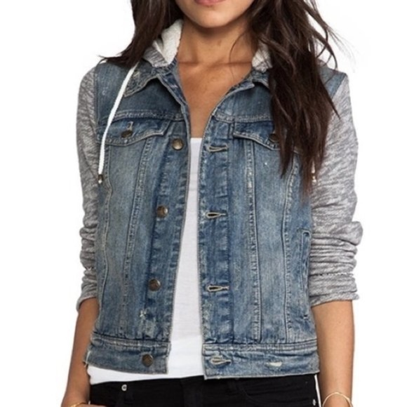 Free People Distress Denim and Knit Hoodie - Small